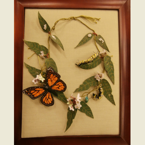 "Wendy Fuller ""Life Cycle of a Monarch Butterfly - a necklace"""